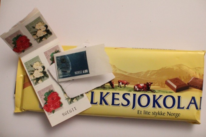 Stamps with chocolate taste and smell